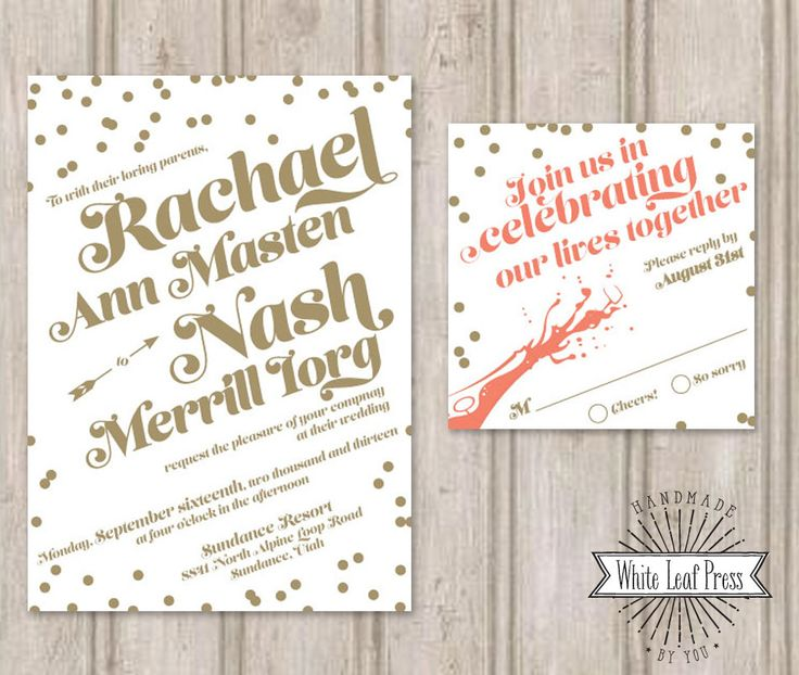 Printable Wedding Invitations Confetti and Champagne by WhiteLeafPressDesign on Etsy