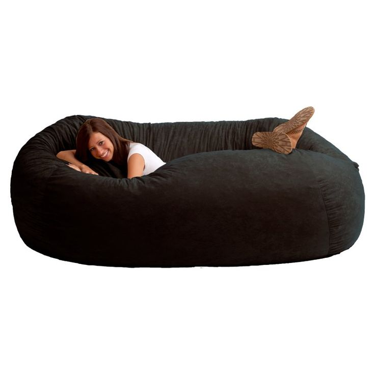 FUF 7 ft. XXL Comfort Suede Bean Bag Sofa Black Onyx - 0001178