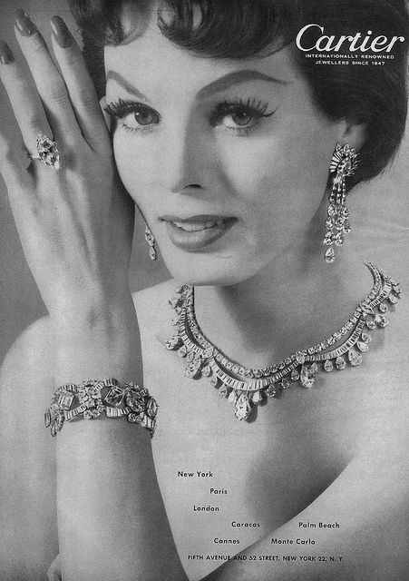 gorgeous diamond jewelry from Cartier, 1950s.