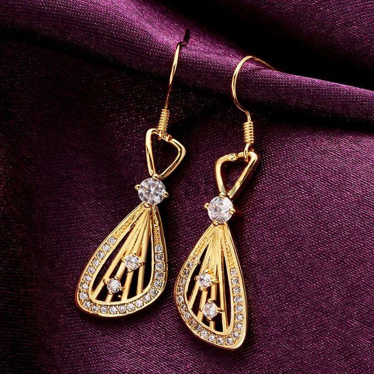 Дешевое E001 a модный дизайн капли воды длинные мотаться серьги позолоченные кристалл серьги мода свадебные серьги для леди, Купить Качество Висячие серьги непосредственно из китайских фирмах-поставщиках:  > Производственный процесс: