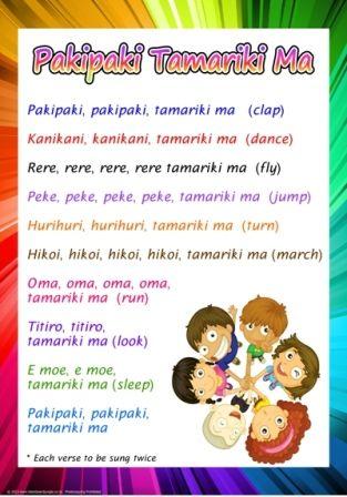 Maori chart: Pakipaki Tamariki Ma