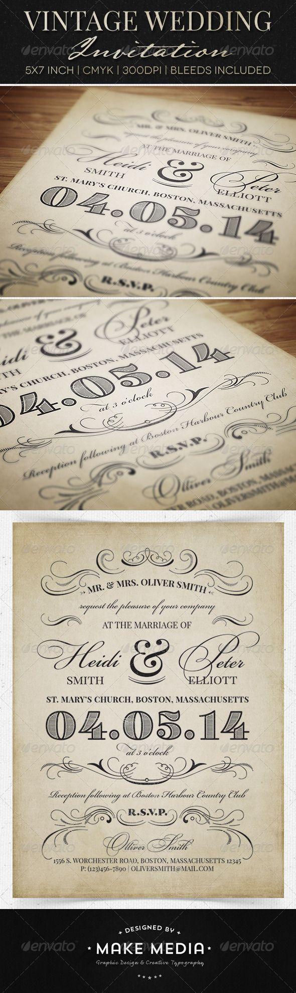 Vintage Wedding Invitation Print Templates PSD | Buy and Download: http://graphicriver.net/item/vintage-wedding-invitation/6603909?WT.ac=category_thumb&WT.z_author=MakeMediaCo&ref=ksioks