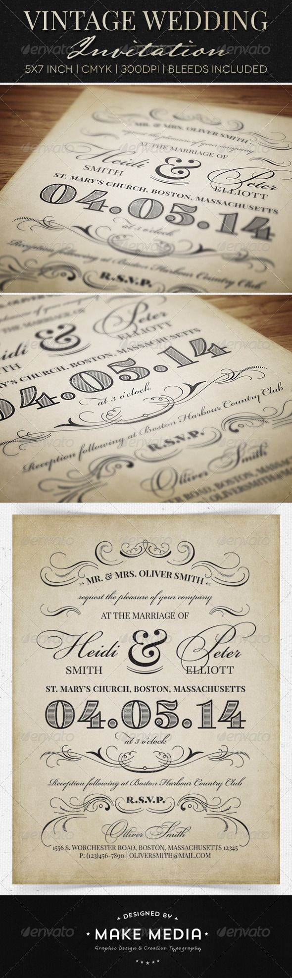 Vintage Wedding Invitation - Weddings Cards & Invites
