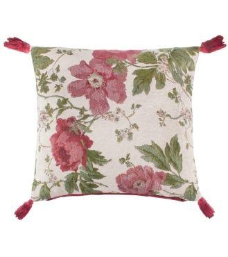 Peony Cranberry Cushion - 43cm x 43cm - Cushions