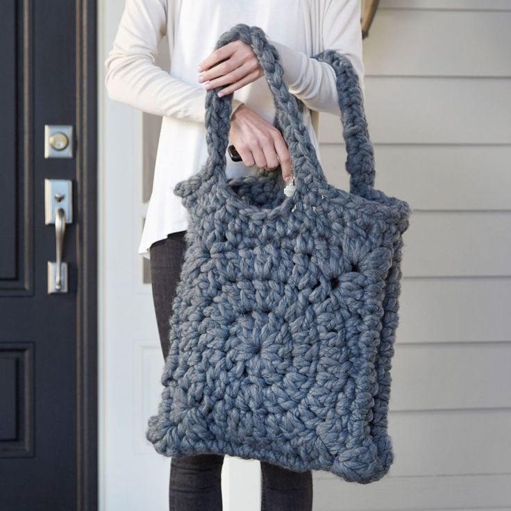 Chunky Granny Square Crochet Tote. ~❀CQ crochet bags baskets totes bolsas borse tote tassen