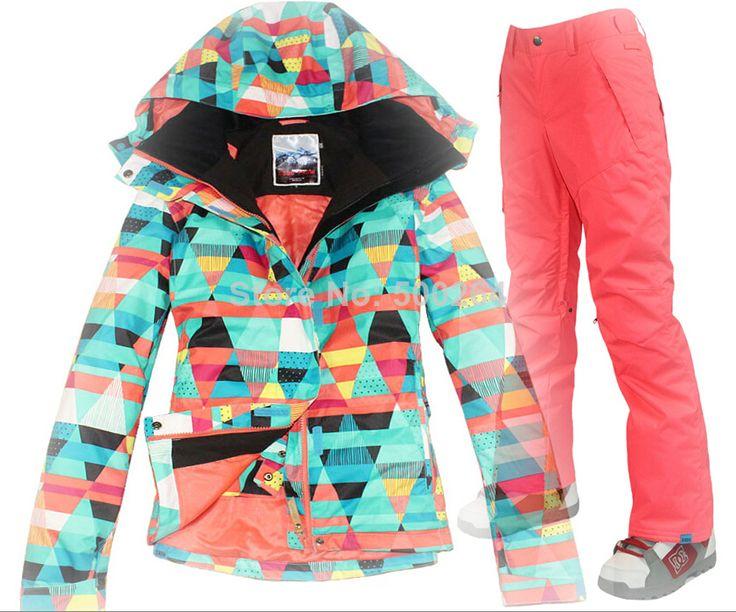 2014 new womens geometric figure snowboarding jacket set ladies ski jacket +pants waterproof snow parka skiwear anorak