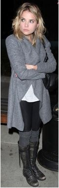Ashley Benson's Hip Lace-Up Boots Outfit. dvchic
