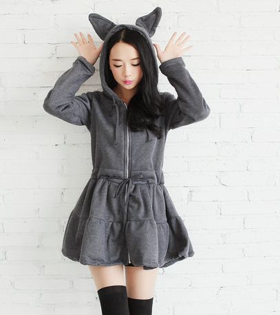 Japanese kawaii rabbit ear fleece dress