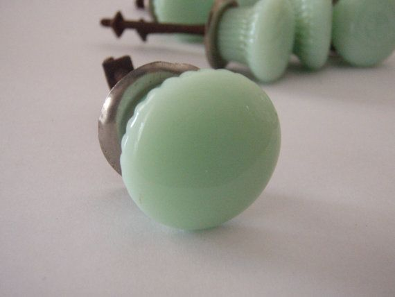 Vintage Drawer Knobs  Milky Green Glass by alittlebitdusty on Etsy