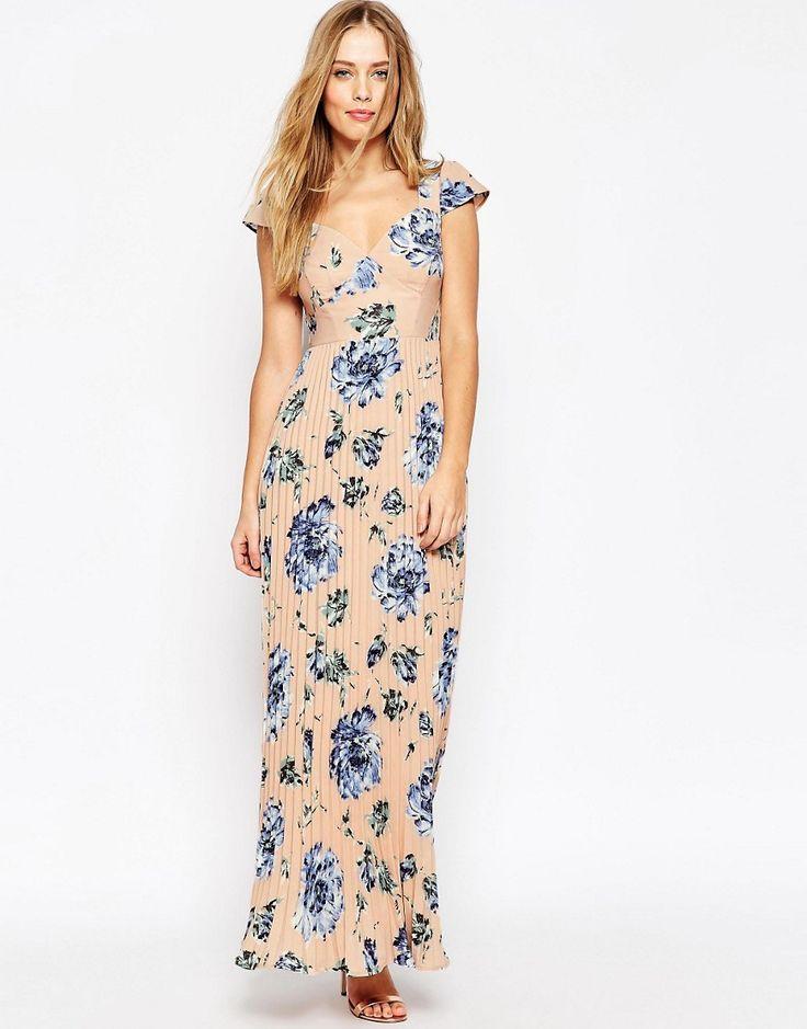 Imagen 4 de Vestido largo plisado con estampado y espalda de encaje WEDDING de ASOS PETITE
