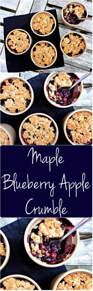This Flourless Maple Apple Blueberry Crumble is #vegan and #glutenfree - An easy, #healthy and delicious recipe!