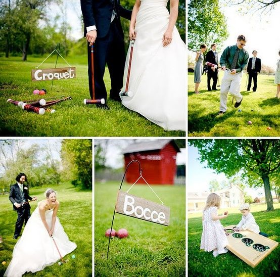 Daytime wedding games - lawn games: bocce, croquet, corn hole, ping pong, horseshoes!
