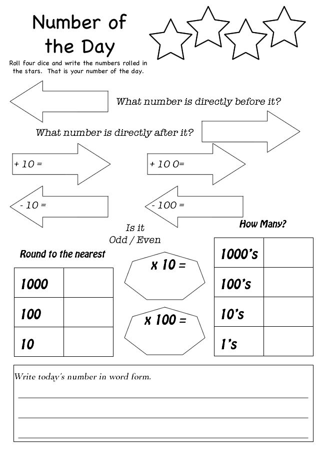 Number of the Day Worksheet   Homeschool   Pinterest   The ...
