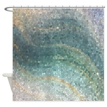 Mosaic Shower Curtain  Ocean Shower curtain by ArtfullyFeathered