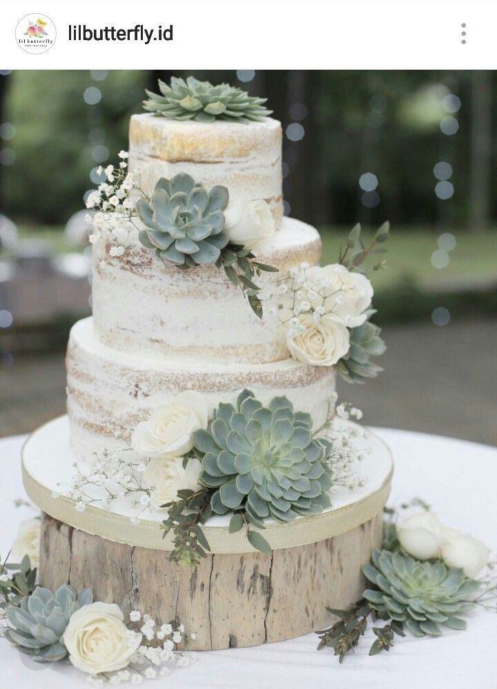 Stunning Succulents Wedding Cake Countryweddingcakes  My -7852