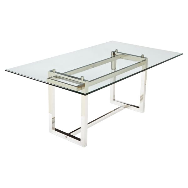 Rectangular Dining Table With Modern, Stainless Steel Base And Glass Top.