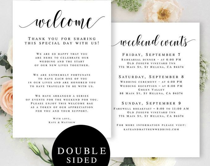 Wedding Itinerary Template / Printable Wedding Welcome