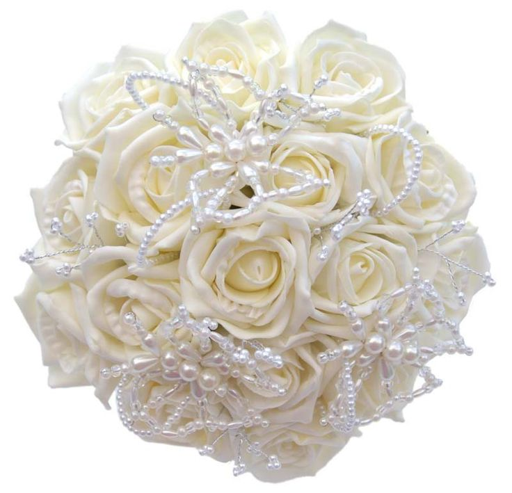 Wedding Flowers Bridal Bouquet with butterflies | ... Bouquet in Ivory Roses and Butterflies - Artificial Wedding Flowers
