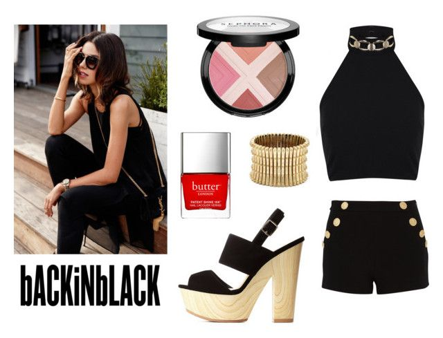 """""""[I LOVE BLACK] BRYAN YANG'S PERFECT MATCHING 112"""" by bryan-yang ❤ liked on Polyvore featuring moda, Boutique Moschino, Charlotte Russe, Miss Selfridge, Sole Society, Butter London e Sephora Collection"""
