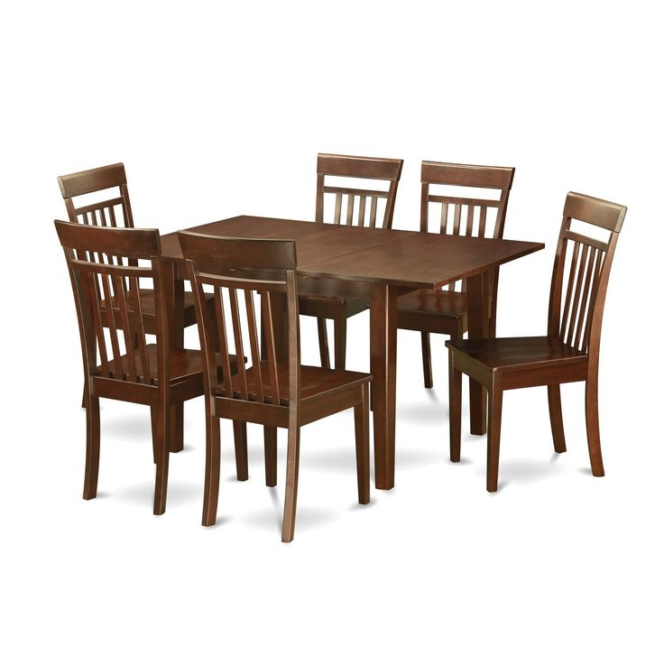 Psca7 Mah 7 Piece Small Kitchen Table Set Wood Seat Clear Size 7 Piece Sets
