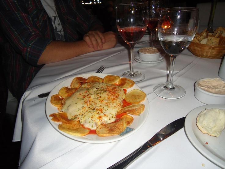filé a parmegiana acompanhado de batata-frita e vinho rosé (from Morena restaurant, Buenos Aires)