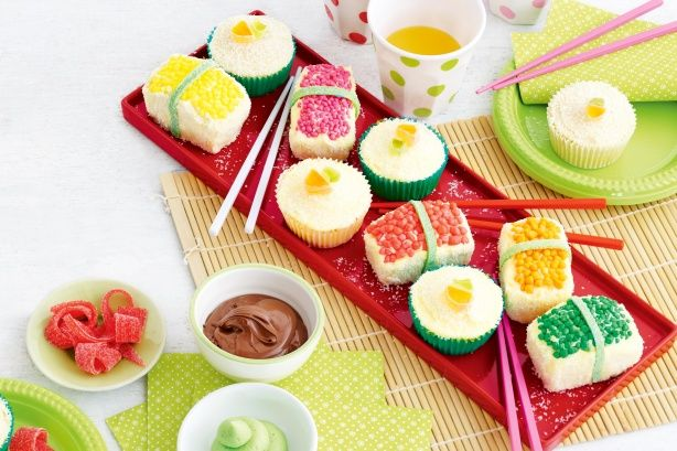 Keep everyone guessing by serving these fabulous cakes, that look like sushi, at your next kid's party.