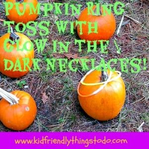 Pumpkin Ring Toss Game Using Glow In The Dark Necklaces As Rings! Activate them for night time fun! Inexpensive, and perfect for classroom parties, fall parties, and fall festivals!