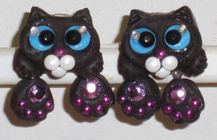 Ohrstecker Katze Tiere Damen Ohrringe Ohrschmuck Modeschmuck Thermoplast