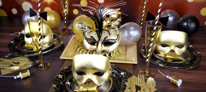 Four Venetain Style Masks In Metallic Gold Three Plain And One Decorated With Flowers And Glit Masquerade Party Themes Masquerade Party Masquerade Ball Party