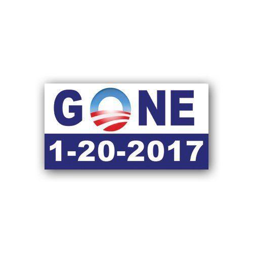 "Magnetic anti-Obama Stickers | Anti Obama ""GONE"" 1-20-2017 1-20-17 MAGNETIC bumper sticker decal $3 ..."