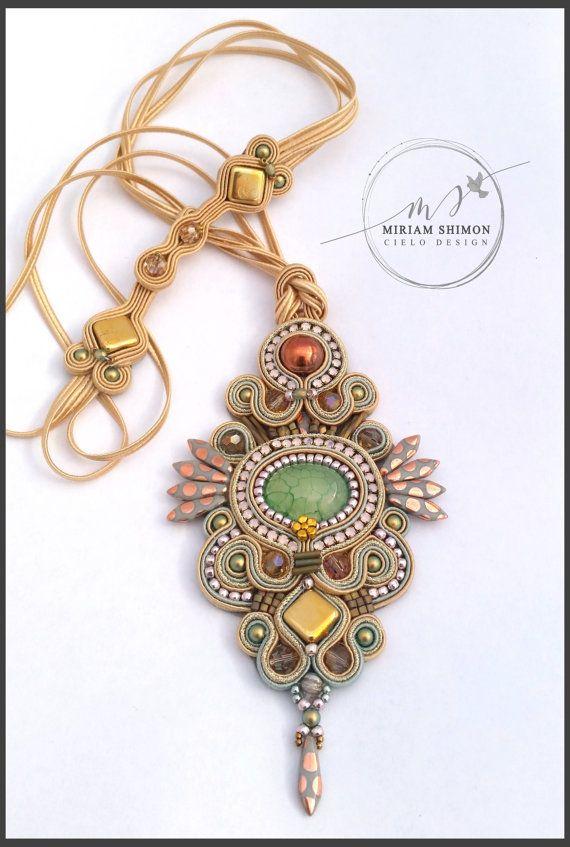 Whimsical Soutache pendant in cream gold bronze by MiriamShimon