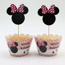 Hot Koop Evenement Feestartikelen Verjaardag Decoratie Cupcake Wrappers Minnie Mouse Voor Kinderen Verjaardagsfeestje Cup Cake Toppers Picks(China (Mainland))