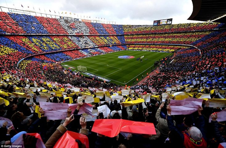 The Nou Camp looked resplendent in Barcelona colours ahead of kick-off in the biggest clash in Spanish football