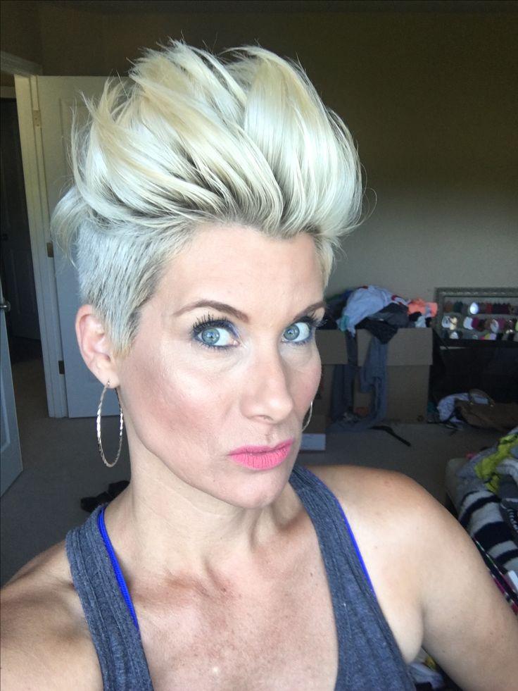 Blonde pixie faux hawk #pixie