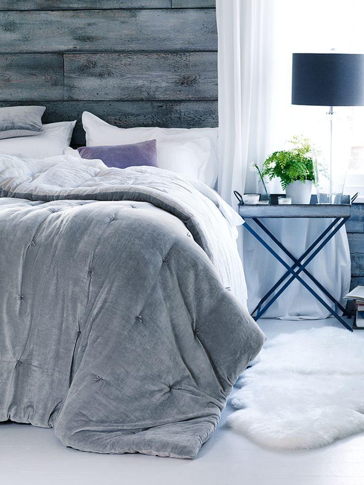 Snuggle up during those cold winter nights in this supersoft padded velvet quilt. The dove grey velvet gives it a lovely vintage feel for those early nights