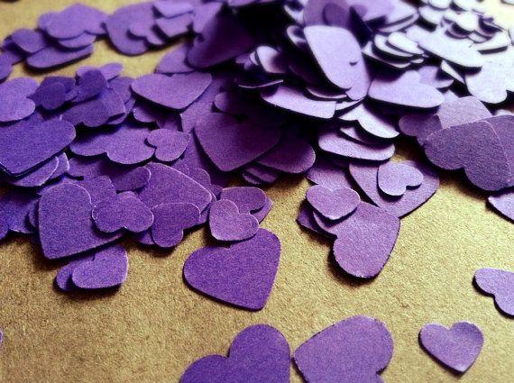 500 Cadbury Purple Mini Heart Table Confetti / Purple Wedding Decor / Biodegradable Confetti
