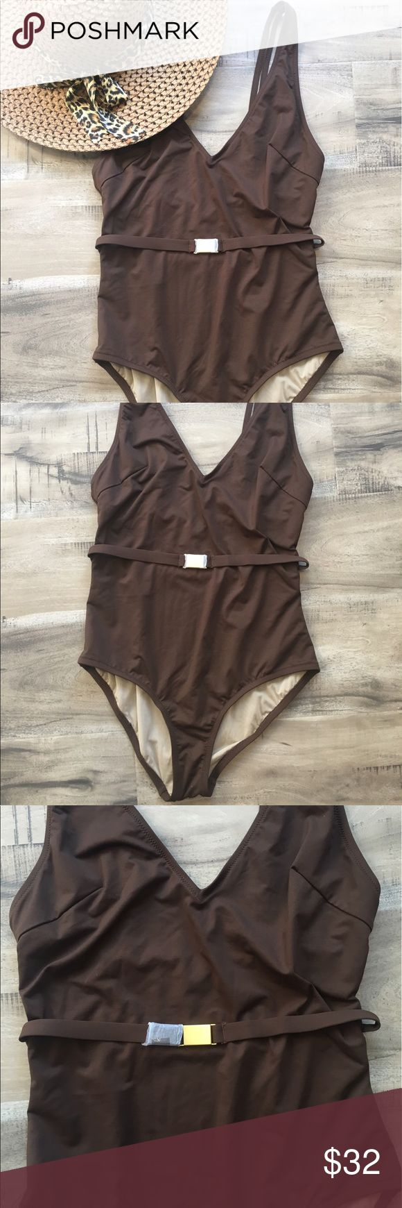 J. Crew Brown One Piece Gold Belt Bikini Swim Suit This is Brand New without Tags! Never worn J. Crew size 6 Brown One Piece Modest! J. Crew Swim One Pieces