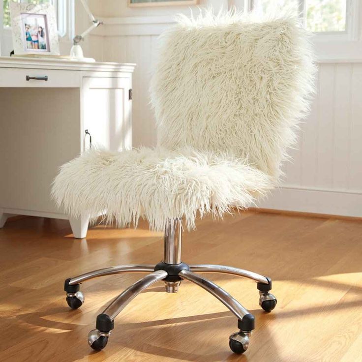 Ivory Sherpa Desk Chair