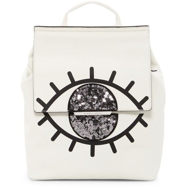 Kendall & Kylie Annabell Evil Eye Leather Backpack found on Polyvore featuring bags, backpacks, leather daypack, leather backpacks, leather rucksack, white backpack and backpack bags