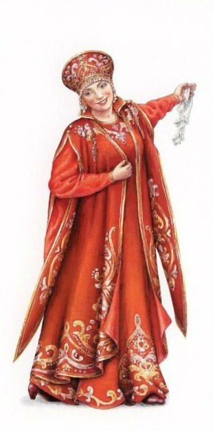 """A stage costume """"Russian Princess"""" in the style of the 17th century. A postcard…"""
