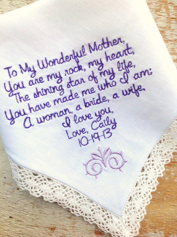 Embroidered Wedding Handkerchief Monogrammed custom mother mom hanky heirloom personalized