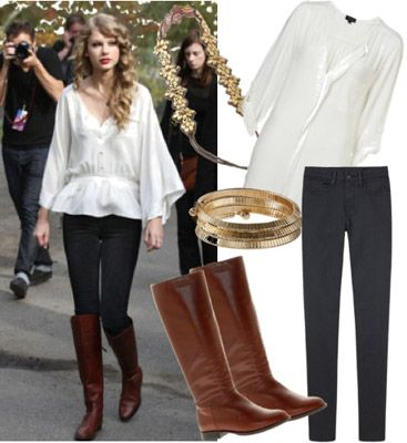 Taylor Swift outfit - jeans, riding boots, and a flowing blouse