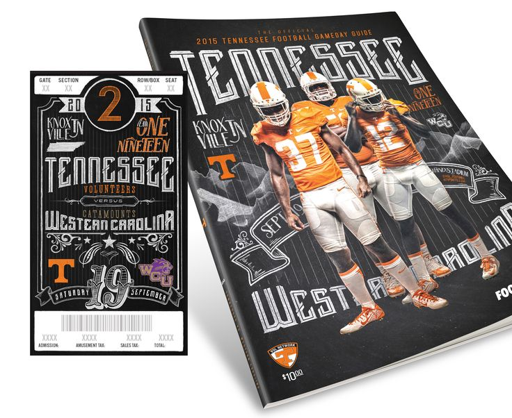 Official University of Tennessee Football Season Ticket and Program Cover designs. All elements on the tickets and covers were hand drawn. (I really loved this project!) Special thanks to Ben Miller for his assistance with drawn elements.