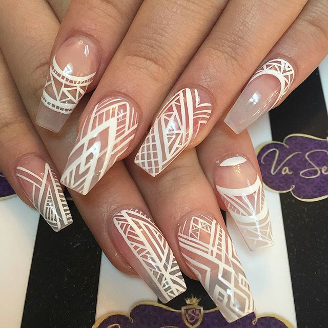 White lines tribal nail art Negative space