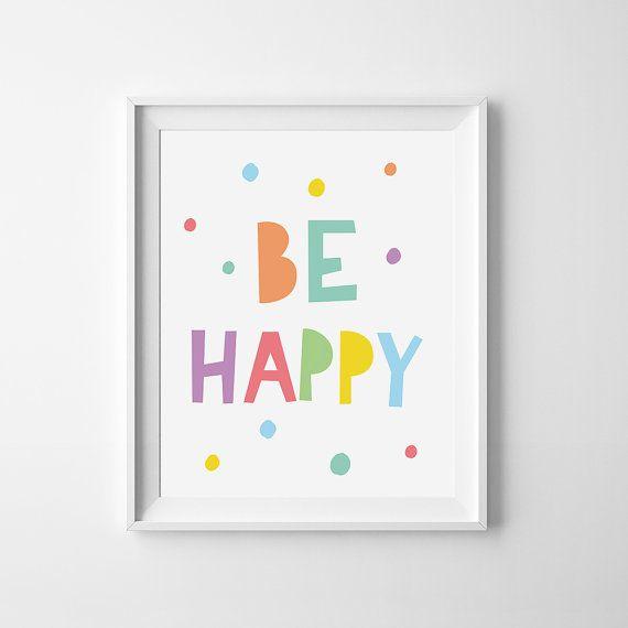 Playroom wall art, children print, kids decor, mini learners, nursery printable, Be happy quote, kids print, nursery art, be happy print