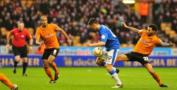 Wolves 0 Peterborough Utd 3 in Dec 2012 at Molineux. Lee Tomlin comes forward and makes it 1-0 #Champ