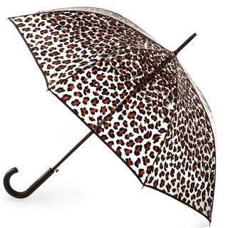 Style and function make this a great umbrella to keep you dry all season long! Fun prints, like Leopard, accent the clear canopy, which opens to 46 inches. Crook handle stick umbrella opens automatically with the push of a button. #totesraingear