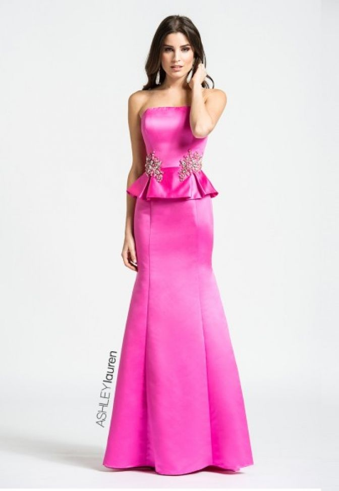 Show off your curves in this mermaid peplum prom dress. The strapless bodice is embellished at the waist with tonal crystals and rhinestone beading. The Pageant Planet has everything you need to find the perfect look for your upcoming prom or homecoming event. Check out this dress by Ashley Lauren Collection Prom Dresses A-LINE Straight Natural Satin long Gold,Pink