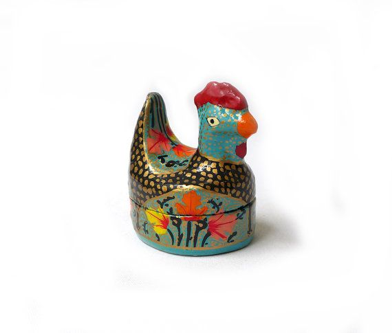 Vintage Indian folk art papier mache rooster box by evaelena, $21.00