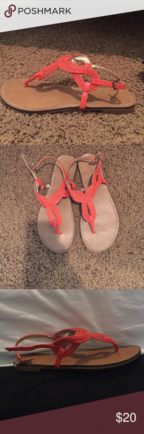 Orange braided Sandals Worn one, original from Nordstrom, orange sandals, great for summer Merona Shoes Sandals